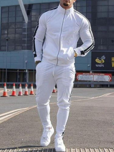 Casual Solid Color Long-sleeved Sportswear Two-piece