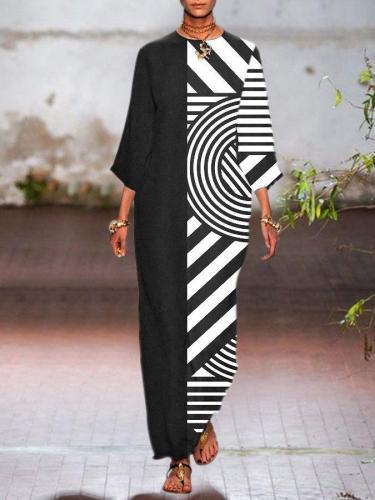 Black Shift Long Sleeve Geometric Crew Neck Dresses
