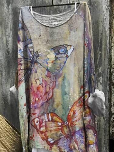 Khaki Long Sleeve Shift Cotton-Blend Floral Tops