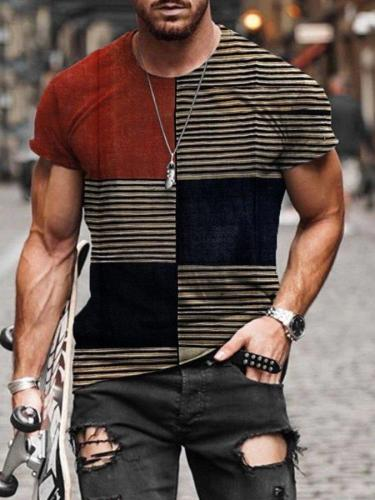 Men's Line Splicing Print T-shirt