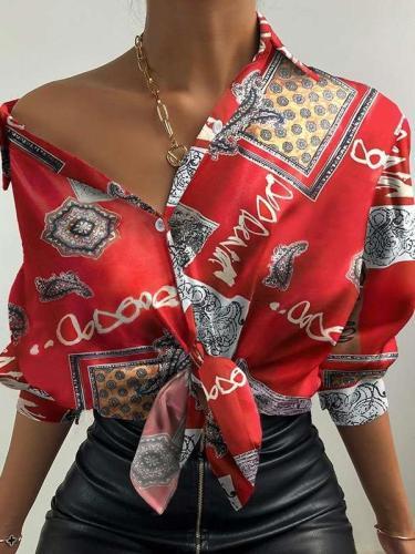 Digital Printing lapel Long sleeve Women Blouses