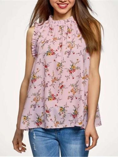 Casual Floral print Round neck Sleeveless T-Shirts