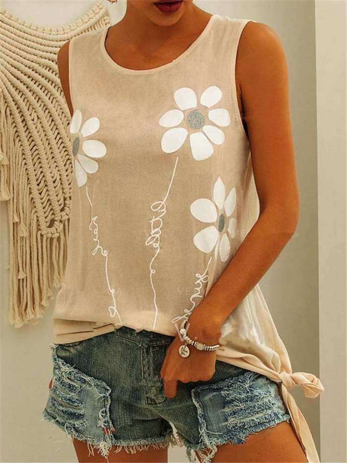 Casual Floral print Round neck Sleeveless Vests