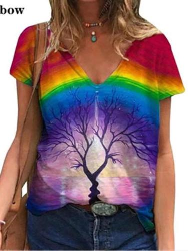 Casual Women Print V neck Short sleeve T-Shirts