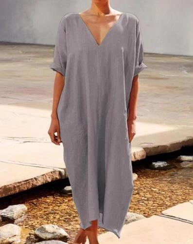 Short Sleeve Work Plain Maxi Dresses