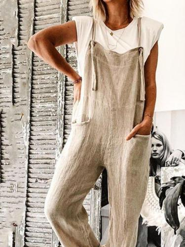 Casual loose solid color linen jumpsuit