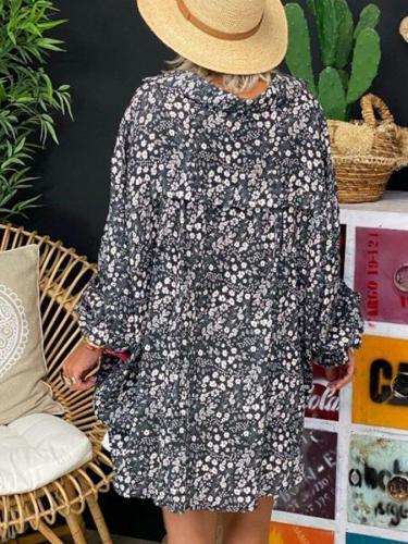 Black Long Sleeve Floral Cotton-Blend V Neck Shirts & Tops Blouses