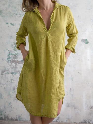Casual Linen V Neck Plain Midi Dresses