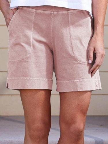 Women Pockets Elastic Band Casual Summer Shorts short pants