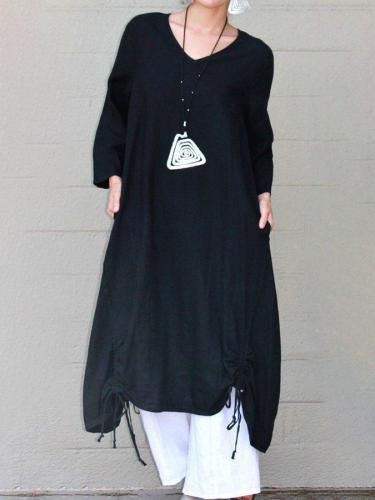 Black Paneled Shift 3/4 Sleeve V Neck Dresses