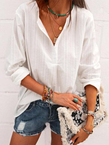 Casual Cotton-Blend Plain Long Sleeve Shirts Blouses