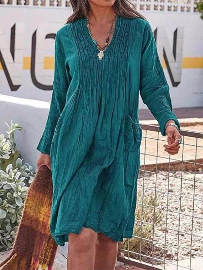 Casual V Neck Long Sleeve Plain Dresses