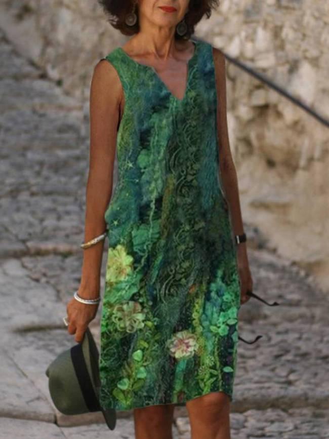 Green Sleeveless Floral Dresses