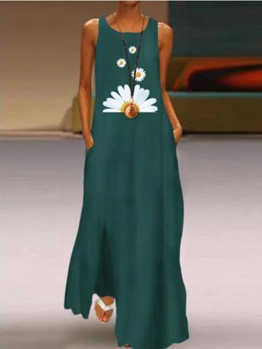 Crew Neck Cotton Boho Sleeveless Dresses