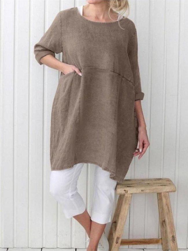 Vintage 3/4 Sleeve Solid Dresses