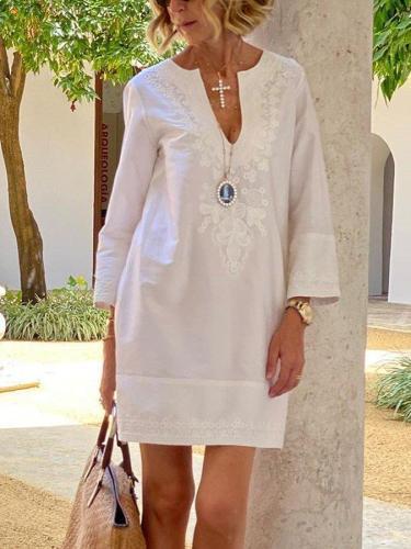 White Floral-Print Long Sleeve V Neck Dresses