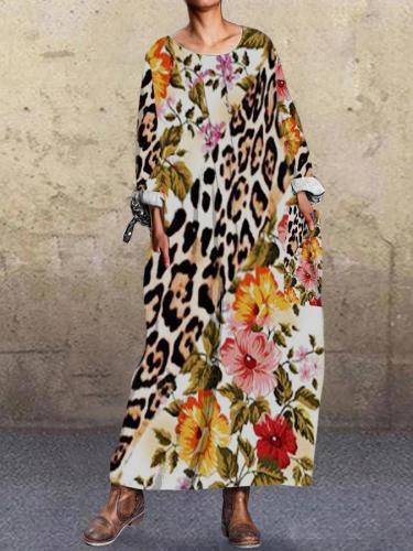 Brown Floral-Print Long Sleeve Shift Vintage Dresses
