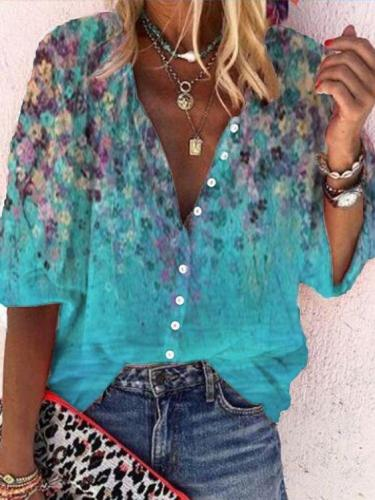 Blue Printed Floral Casual Shirts & Tops