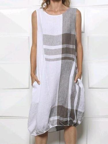 Casual Coloeblock Linen Plain Sleeveless Dresses