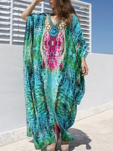 Serpentine Print Quick-Drying Beach Blouse Holiday Dress
