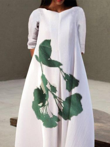 White Casual Floral Half Sleeve Dresses