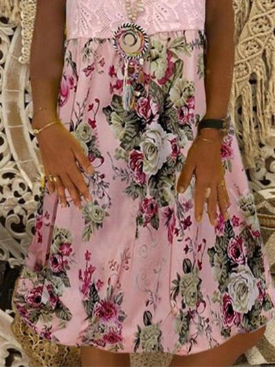 Pink Crew Neck Holiday Chiffon Floral Dresses