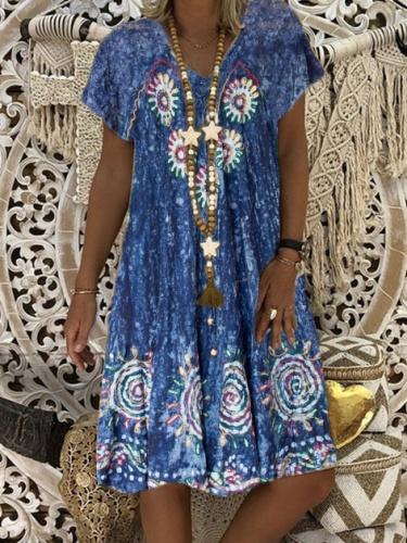 New Women Chic Plus Size Vintage Boho Hippie Holiday V Neck Cotton Short Sleeve Dresses