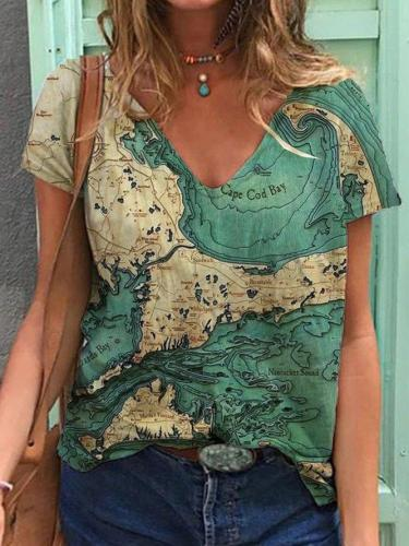 Casual Printed V Neck Short Sleeve Tops