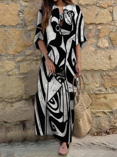 Black-Grey Long Sleeve Shift Dresses