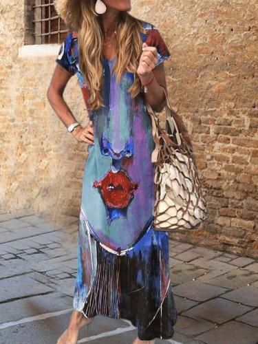 Women Short Sleeve A-Line V Neck Dresses