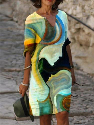 Casual Colorblock Half Sleeve Abstract Printed Dresses