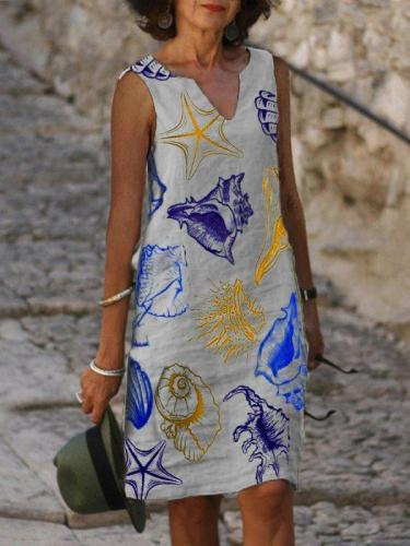 V Neck Geometric Cotton Sleeveless Dresses