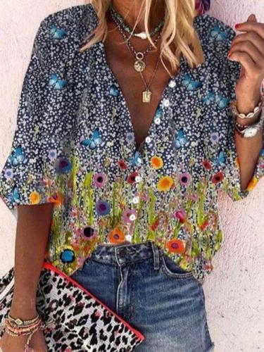 V Neck Floral Holiday Long Sleeve Shirts & Tops