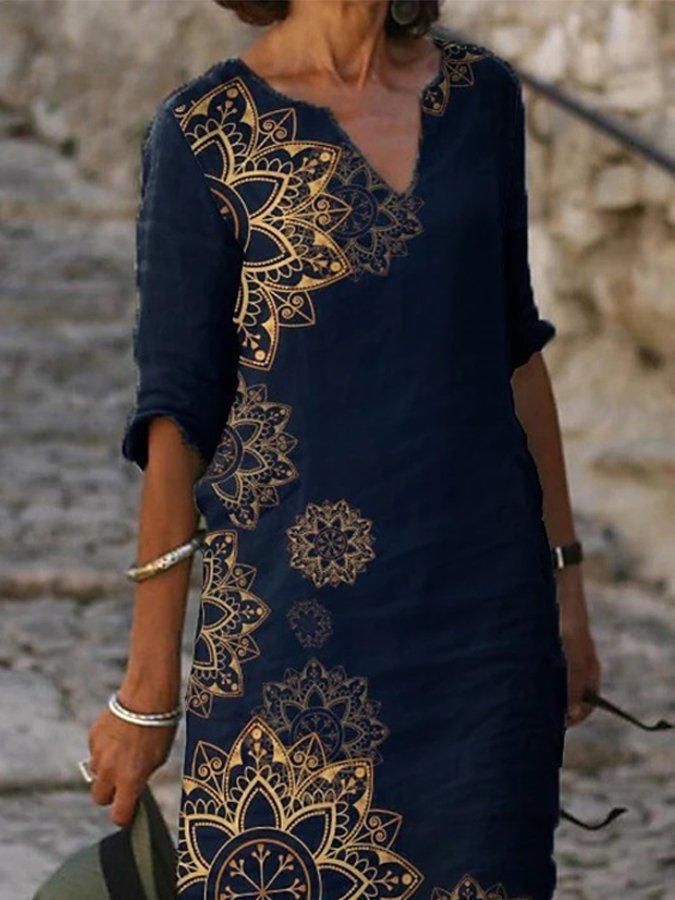 Dark Blue Half Sleeve Casual Printed Dresses
