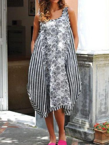 Casual Linen Sleeveless Striped Printed Dresses
