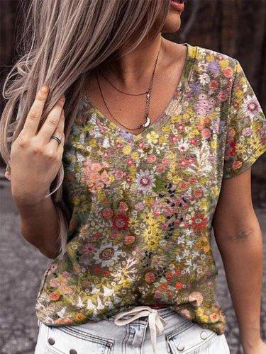 Casual Floral-Print Short Sleeve Shirts & Tops