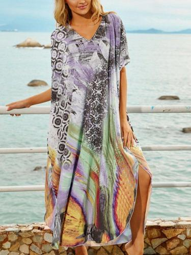 Women's Personalized Printed V-Neck Holiday Long Dress