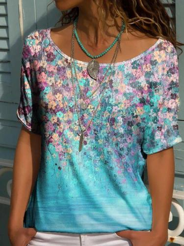Casual Crew Neck Short Sleeve Floral Tops