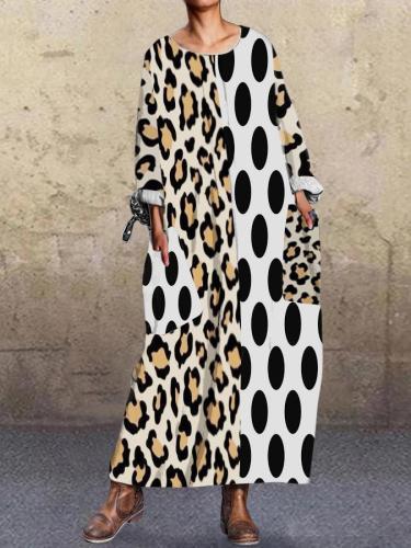 White Leopard Print Shift Long Sleeve Dresses
