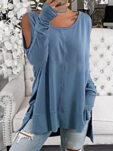 Long Sleeve Crew Neck Casual Shirts & Tops