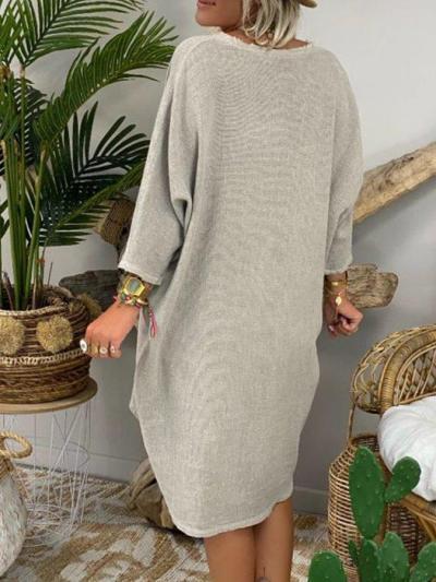 Solid 3/4 Sleeve Vintage Cotton-Blend Dresses