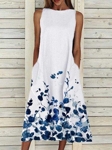 Sleeveless Round Neck Casual Dresses