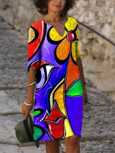 Casual V Neck Short Sleeve Shift Dresses