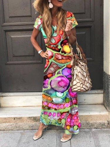 Holiday Geometric V Neck Short Sleeve Maxi Dresses