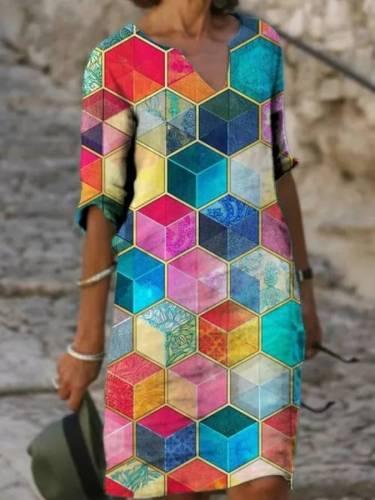 Short Sleeve V Neck Geometric Cotton-Blend Dresses