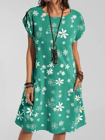 Casual Floral Short Sleeve Dresses