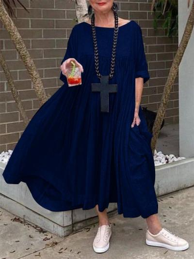 COTTON 3/4 SLEEVE SOLID ROUND NECK DRESSES