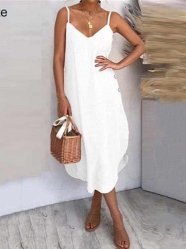 Pure Sexy Casal V neck Vest Sleeveless Fastener Irregular Maxi Dresses