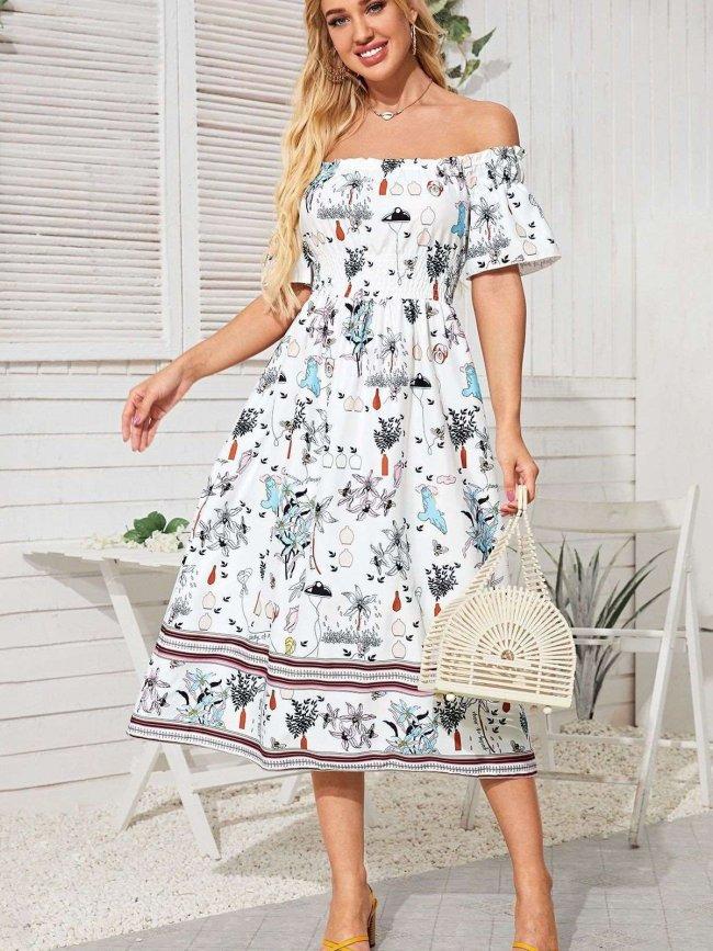 One shoulder Short sleeve Floral print Skater Dresses