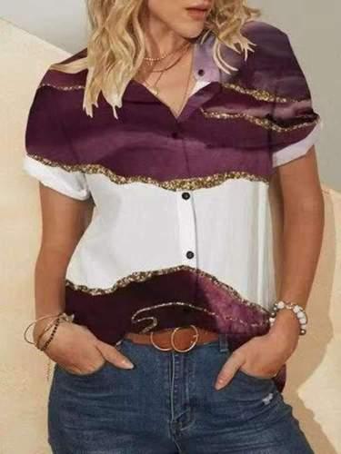 Casual Gored print Lapel Short sleeve Blouses